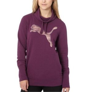 Puma French Terry Cowl Neck Logo Pullover Plum